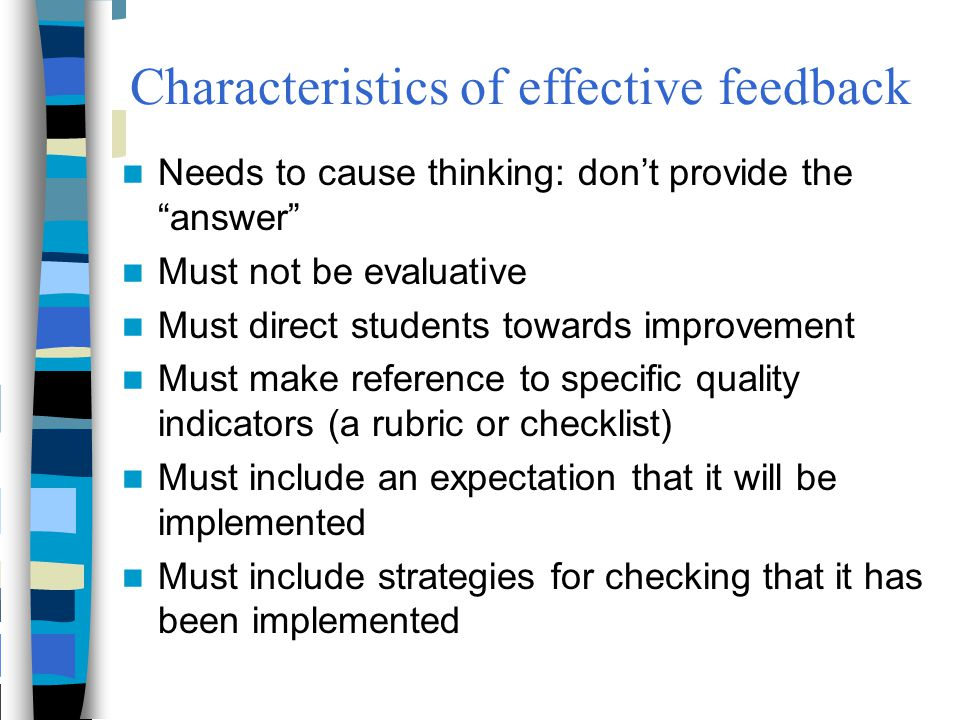 Characteristics of effective feedback