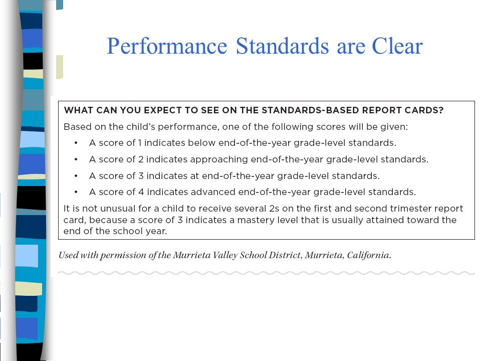 Performance Standards are Clear