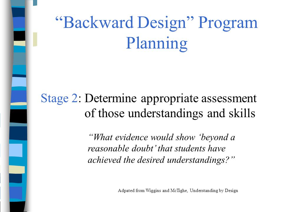 Backward Design Program Planning