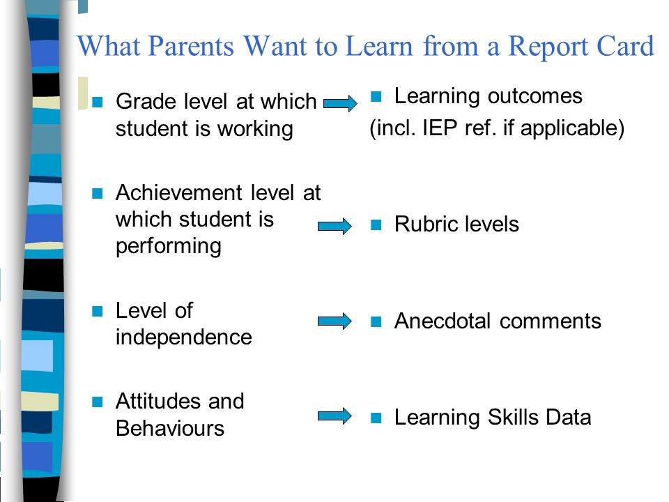 What Parents Want to Learn from a Report Card