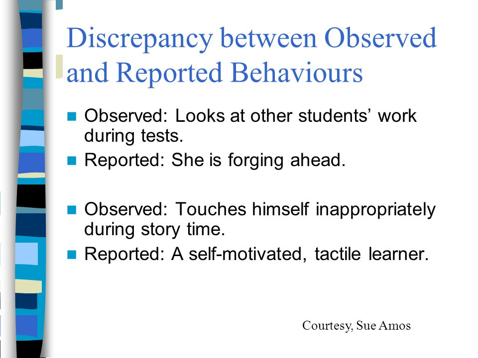 Discrepancy between Observed and Reported Behaviours