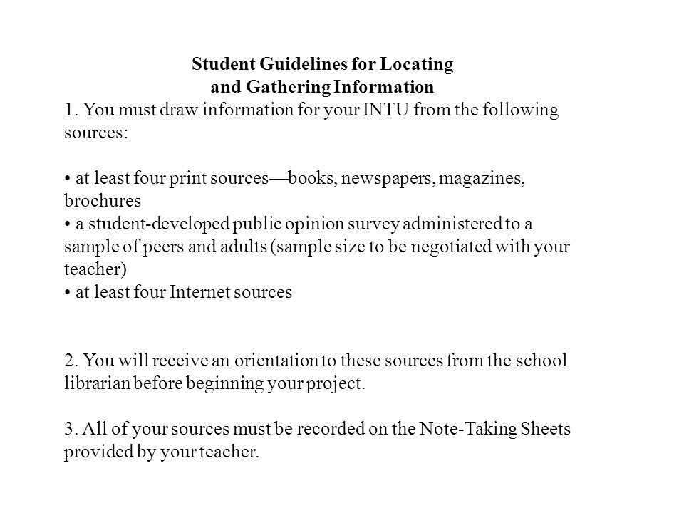 Student Guidelines for Locating and Gathering Information