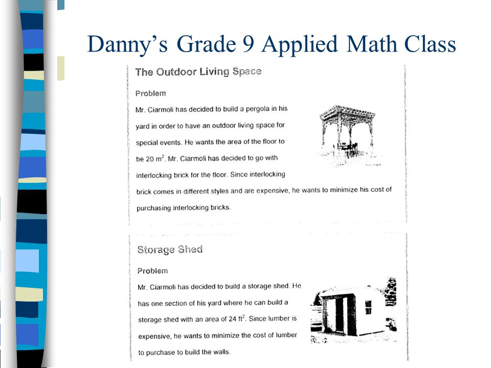 Danny's Grade 9 Applied Math Class