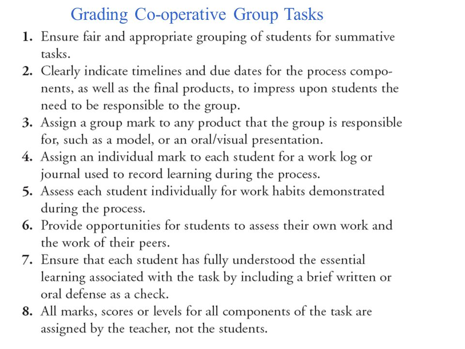 Grading Co-operative Group Tasks