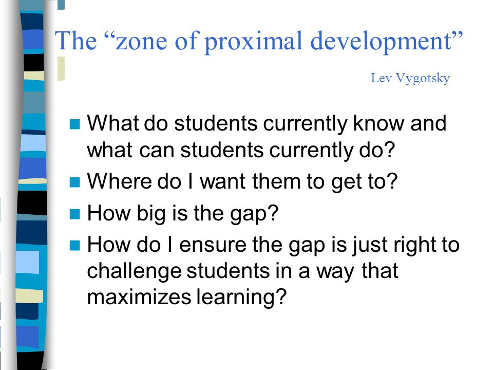 The zone of proximal development Lev Vygotsky