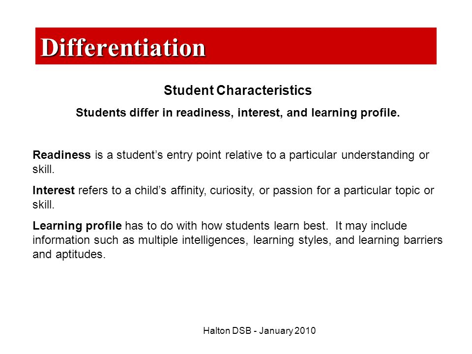 Differentiation Student Characteristics
