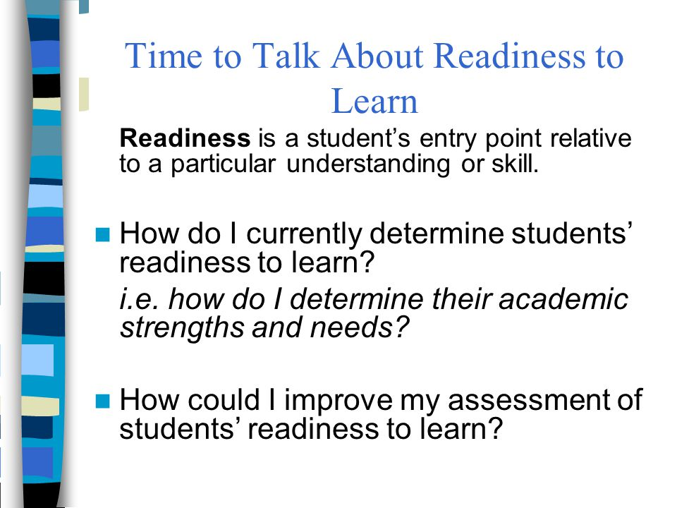 Time to Talk About Readiness to Learn