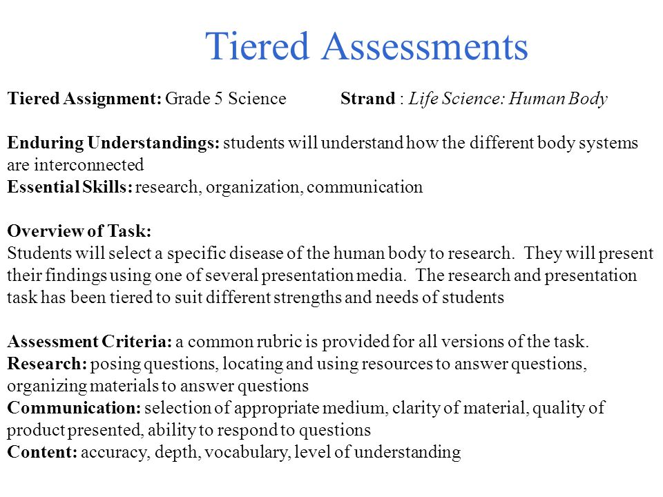 Tiered Assessments Tiered Assignment: Grade 5 Science Strand : Life Science: Human Body.