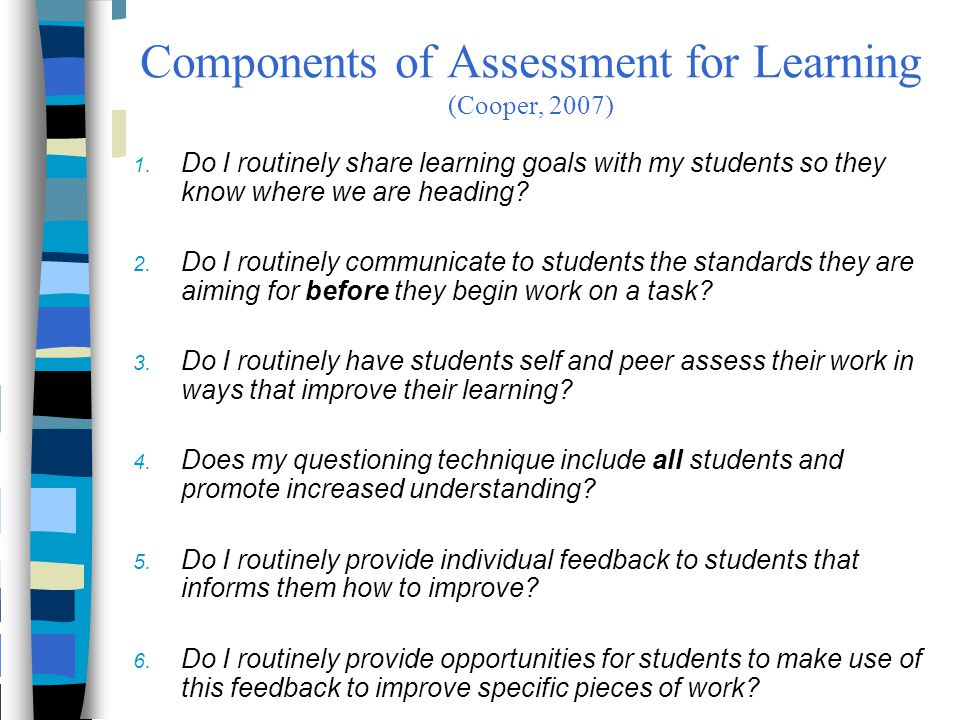 Components of Assessment for Learning (Cooper, 2007)