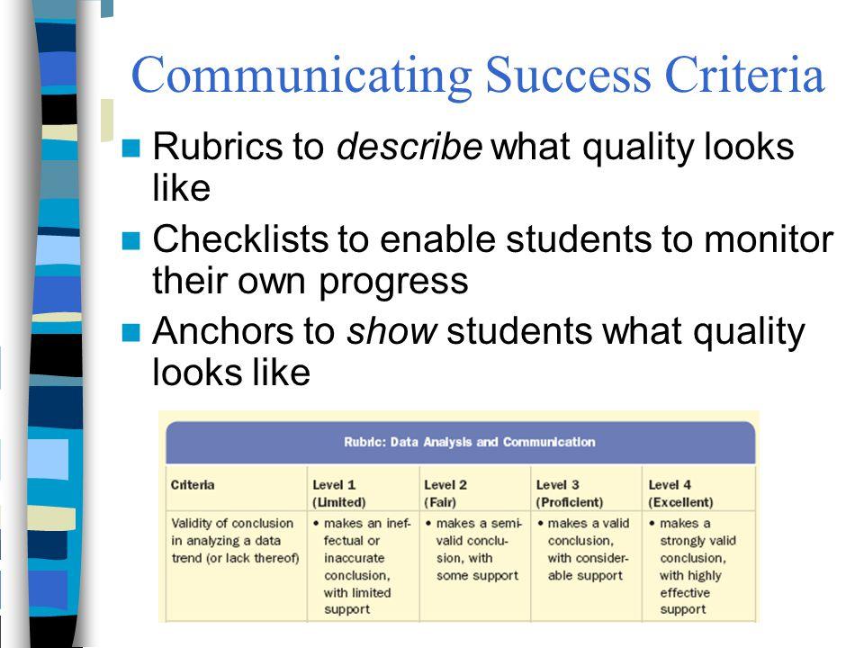 Communicating Success Criteria