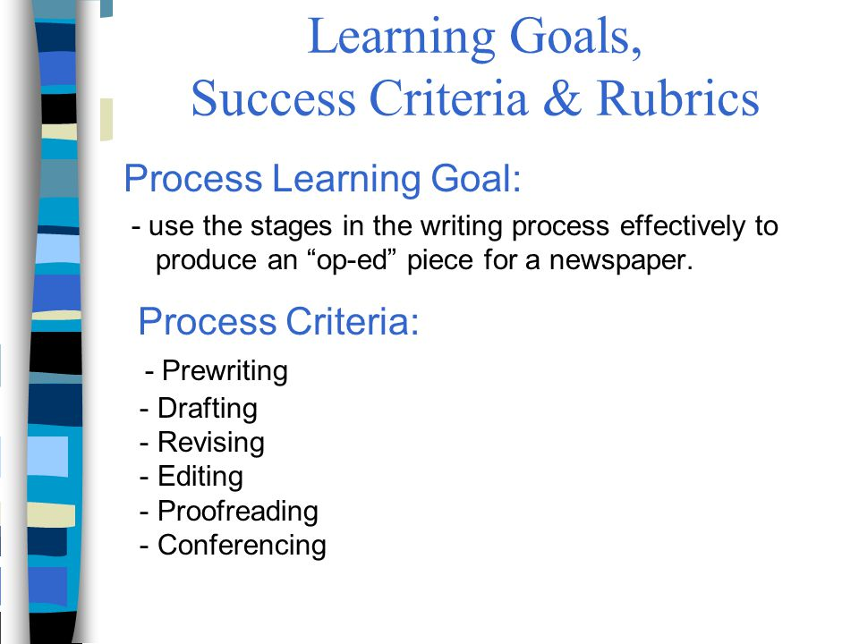 Learning Goals, Success Criteria & Rubrics