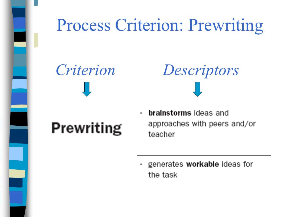 Process Criterion: Prewriting