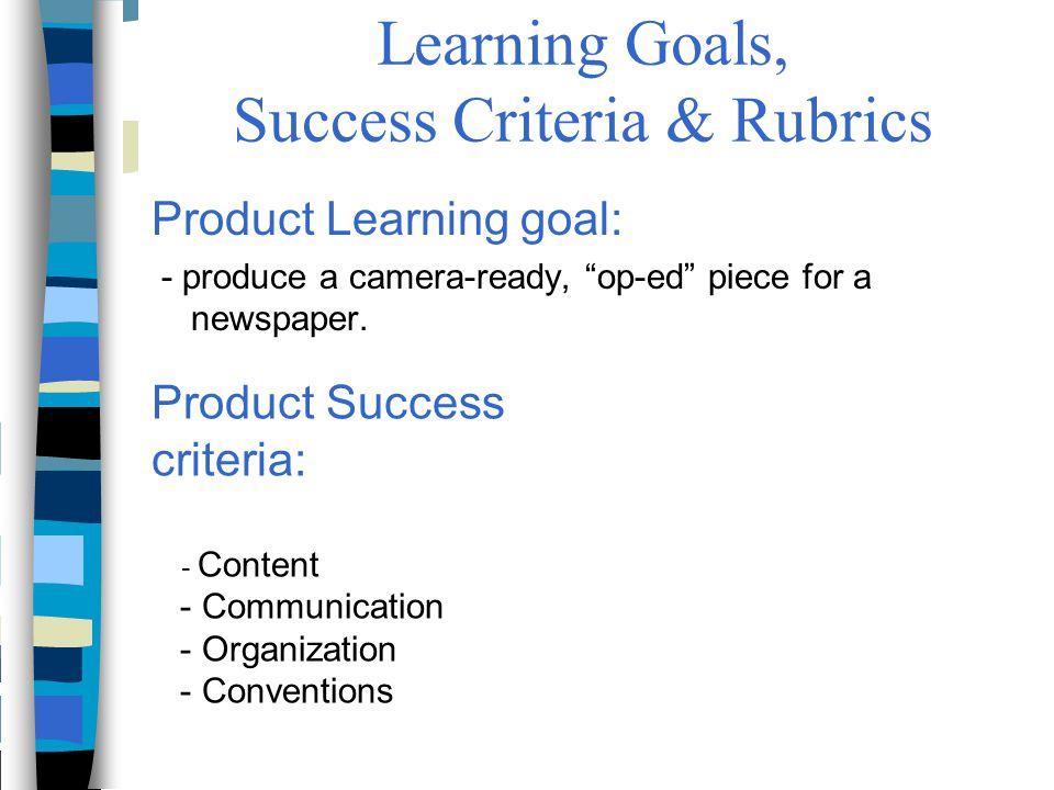 Learning Goals, Success Criteria & Rubrics