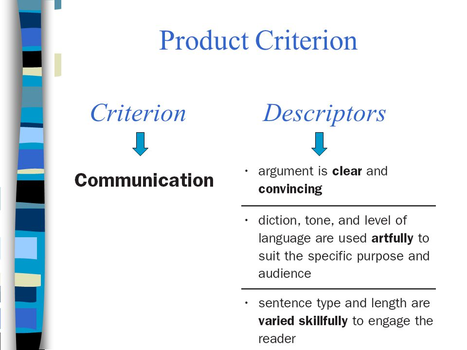 Product Criterion Criterion Descriptors
