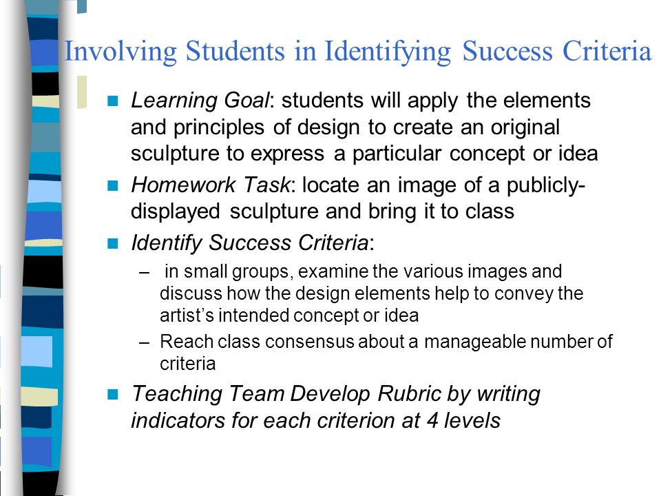 Involving Students in Identifying Success Criteria