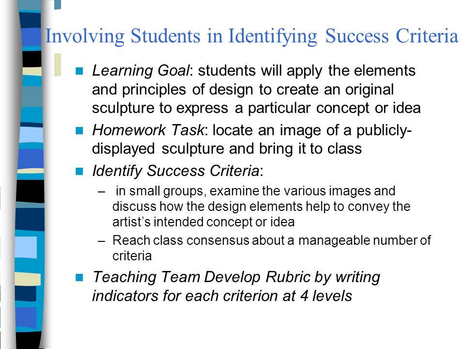 Involving Students in Identifying Success Criteria