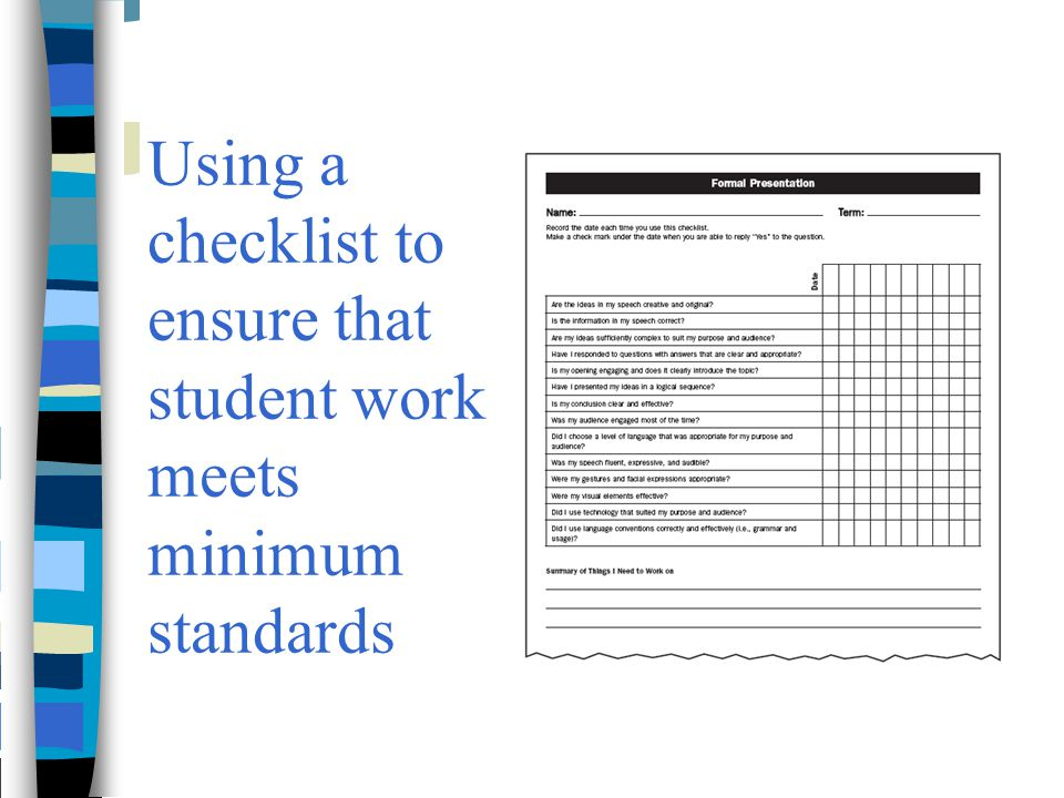 Using a checklist to ensure that student work meets minimum standards