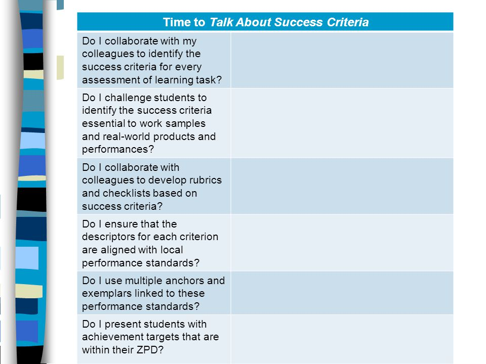 Time to Talk About Success Criteria