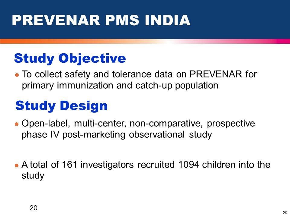 PREVENAR PMS INDIA Study Objective Study Design