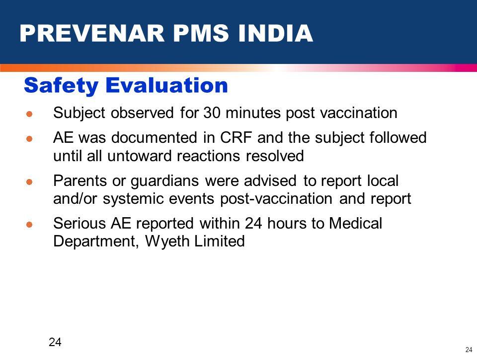 PREVENAR PMS INDIA Safety Evaluation