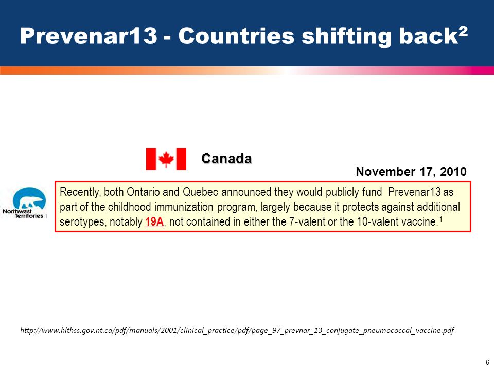 Prevenar13 - Countries shifting back2