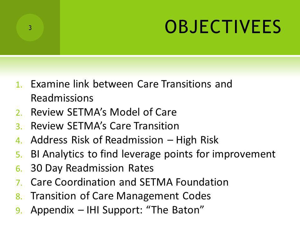 OBJECTIVEES Examine link between Care Transitions and Readmissions