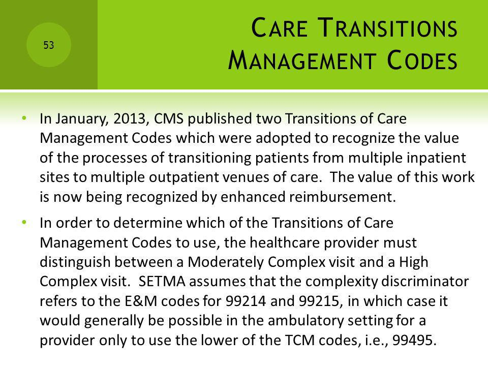 Care Transitions Management Codes