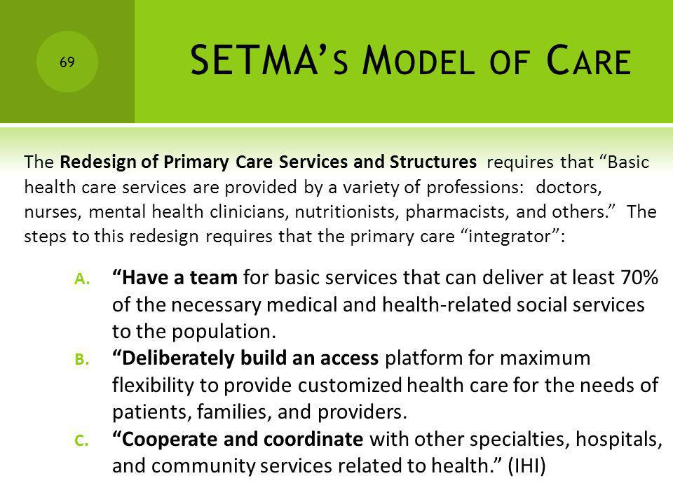 SETMA's Model of CareThe Redesign of Primary Care Services and Structures requires that Basic.