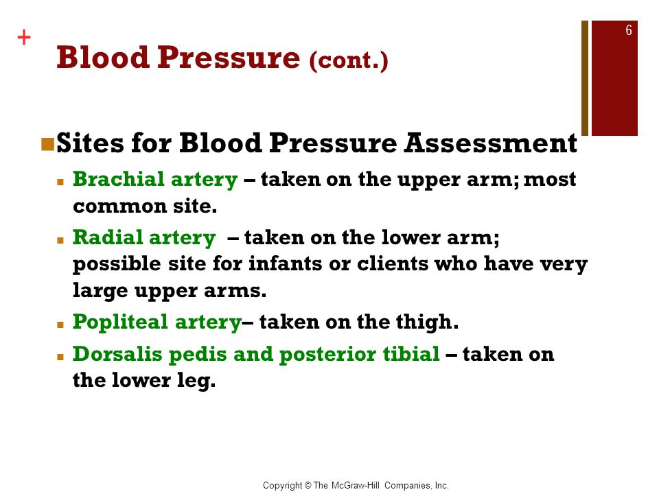Blood Pressure (cont.) Sites for Blood Pressure Assessment