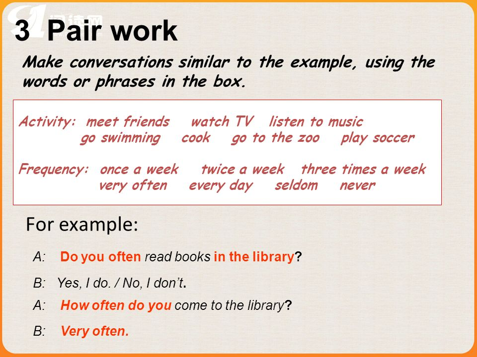 3 Pair work Make conversations similar to the example, using the. words or phrases in the box.