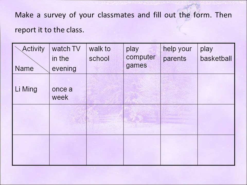 Make a survey of your classmates and fill out the form