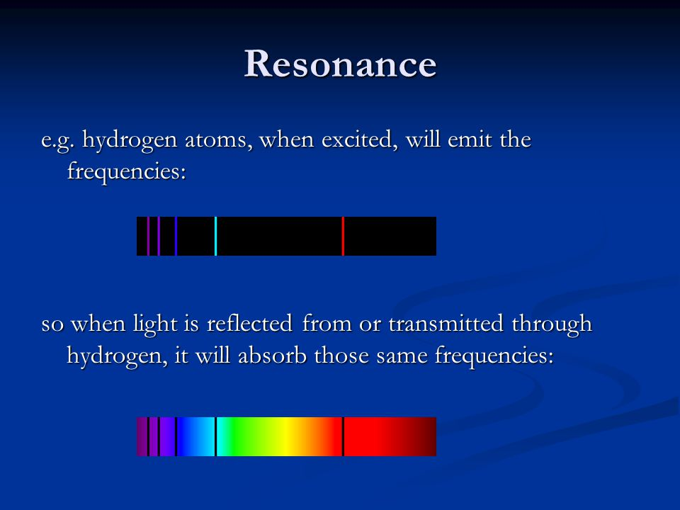 Resonance e.g. hydrogen atoms, when excited, will emit the frequencies: