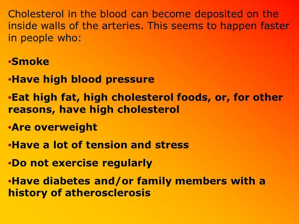Cholesterol in the blood can become deposited on the inside walls of the arteries. This seems to happen faster in people who: •Smoke