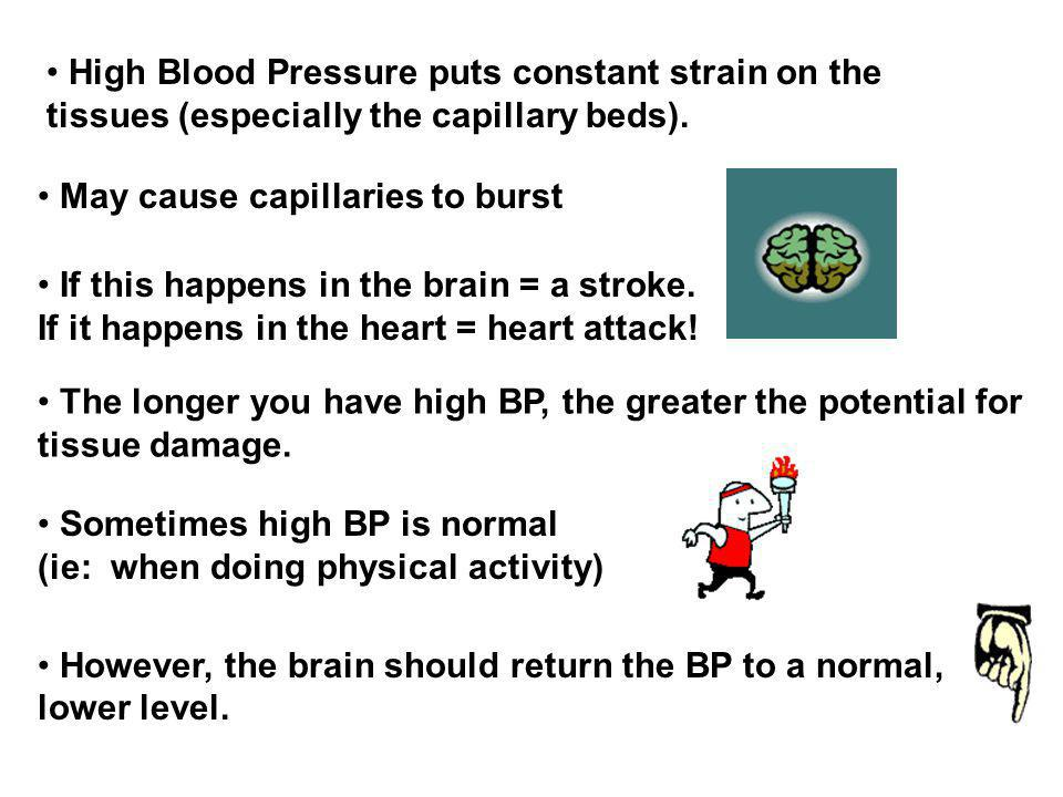 High Blood Pressure puts constant strain on the tissues (especially the capillary beds).