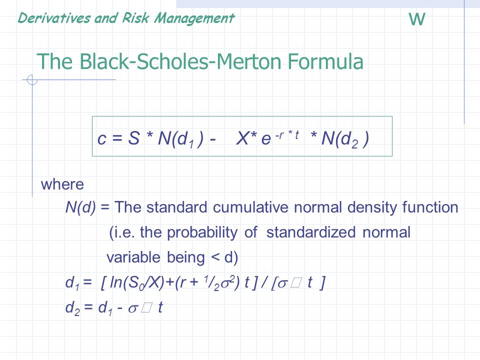 The Black-Scholes-Merton Formula