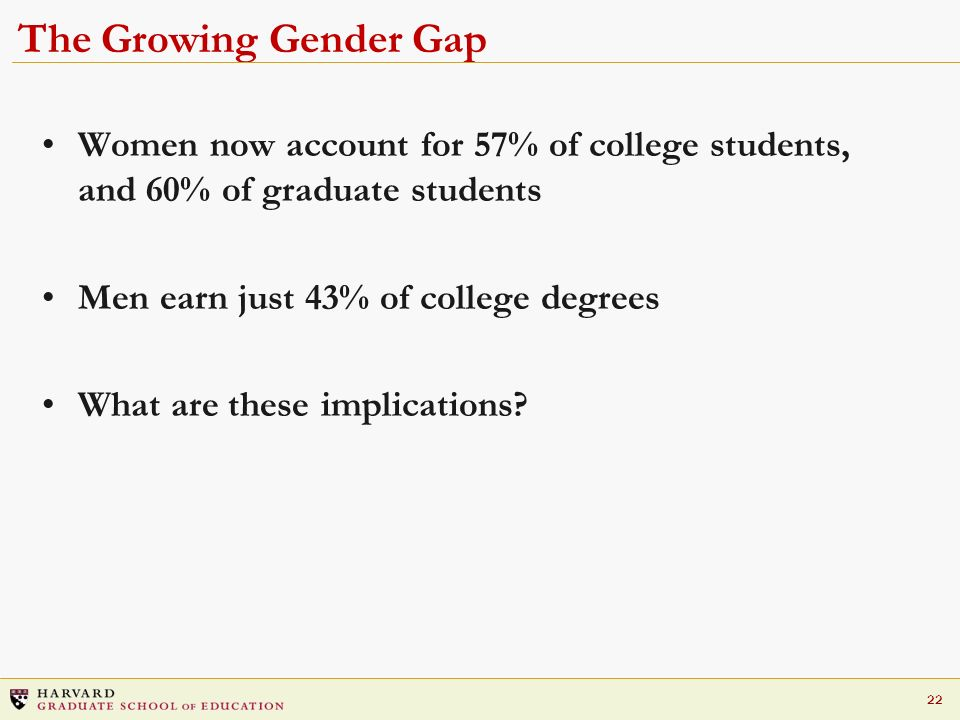 The Growing Gender Gap Women now account for 57% of college students, and 60% of graduate students.