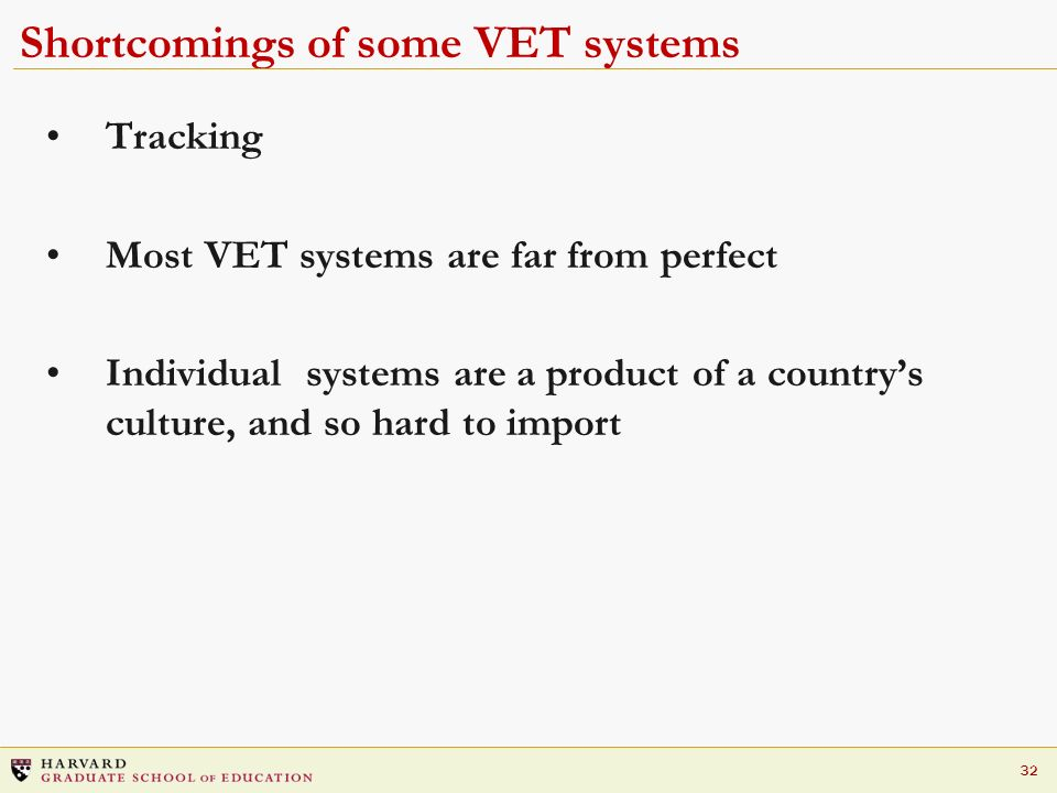 Shortcomings of some VET systems