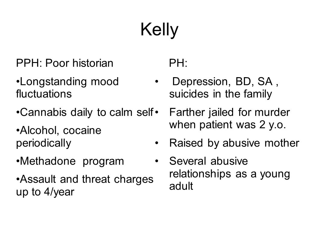 Kelly PPH: Poor historian Longstanding mood fluctuations