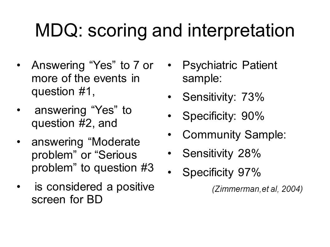 MDQ: scoring and interpretation