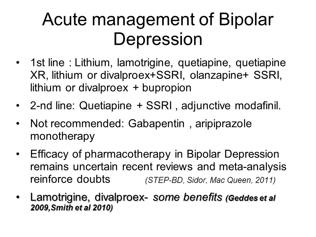 Acute management of Bipolar Depression