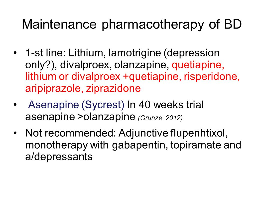 Maintenance pharmacotherapy of BD