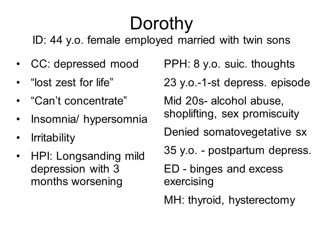 Dorothy ID: 44 y.o. female employed married with twin sons