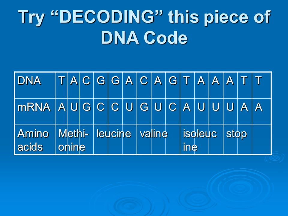 Try DECODING this piece of DNA Code