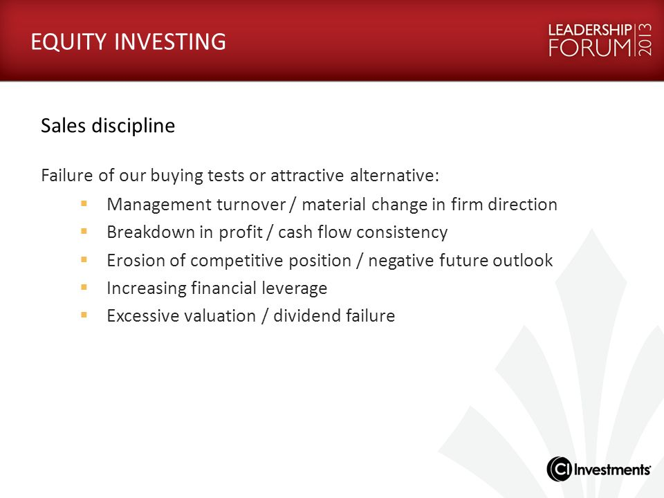 EQUITY INVESTING Sales discipline