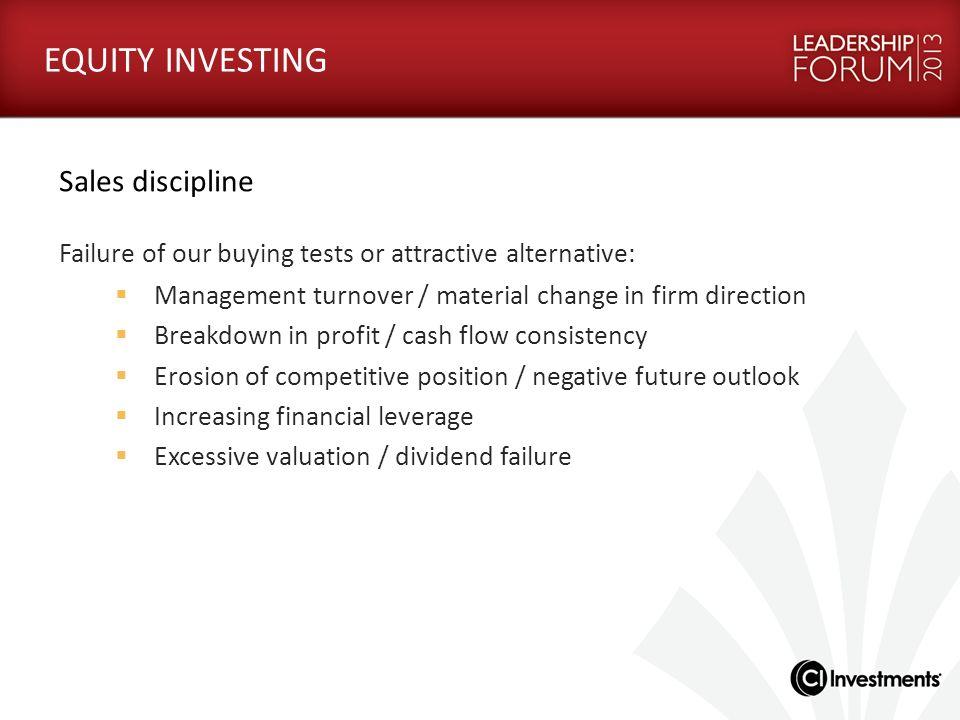 EQUITY INVESTING Sales discipline