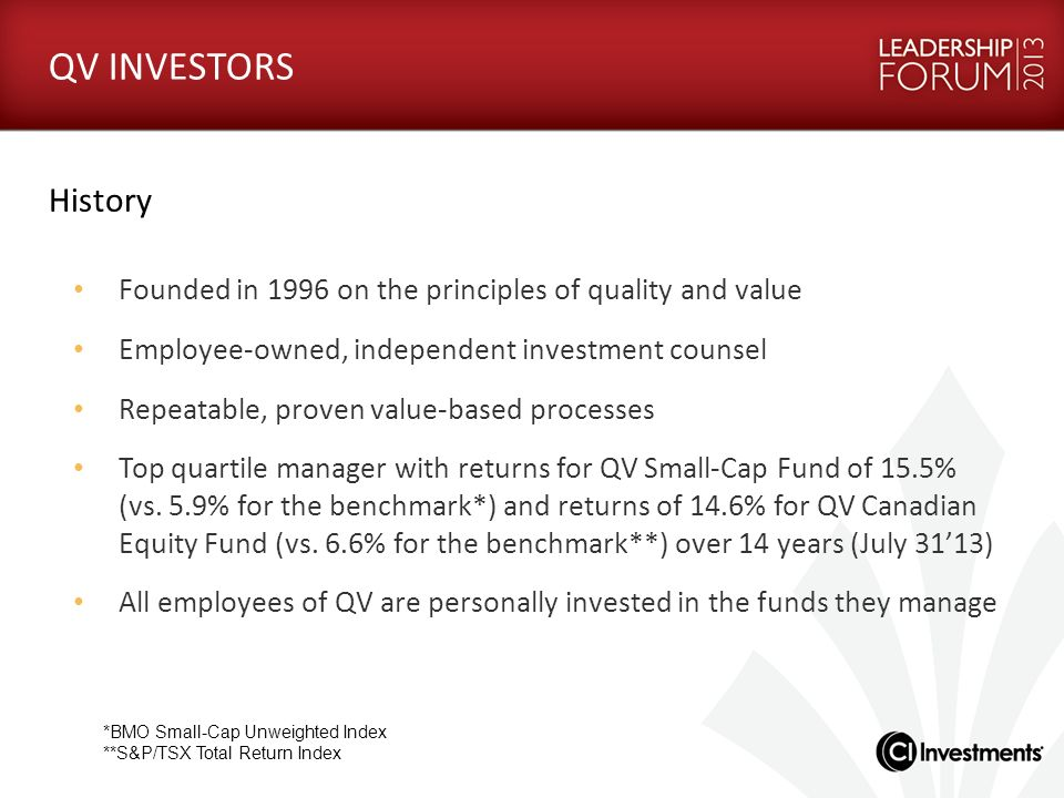 QV INVESTORS History. Founded in 1996 on the principles of quality and value. Employee-owned, independent investment counsel.