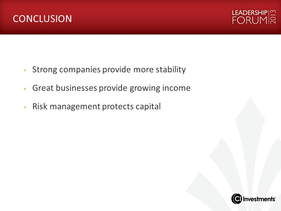 CONCLUSION Strong companies provide more stability