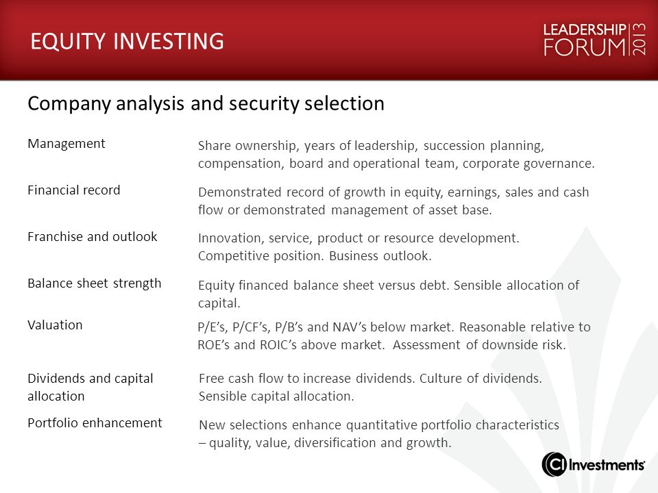 EQUITY INVESTING Company analysis and security selection Management