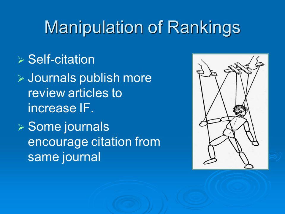 Manipulation of Rankings