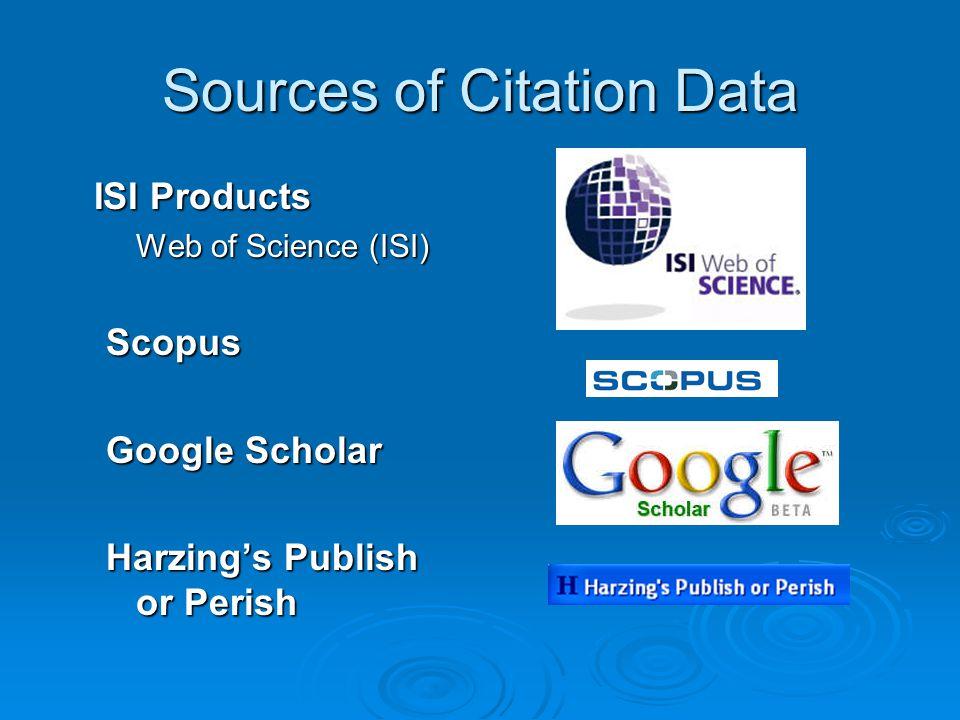 Sources of Citation Data